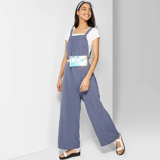 Women's Strappy Straight Neck Waistless Woven Jumpsuit - Wild Fable™ Blue M