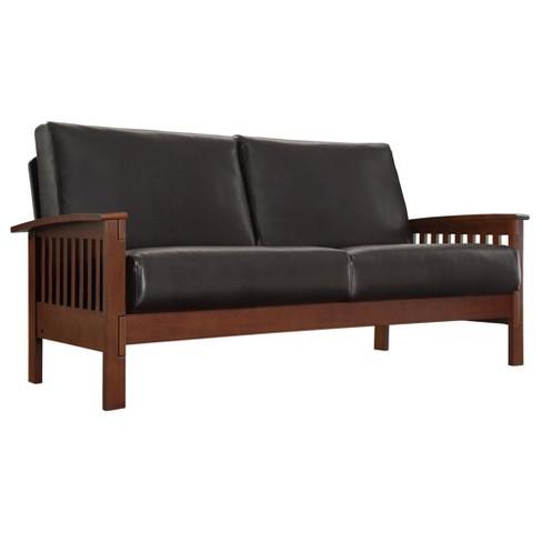 Jordan Faux Leather Sofa Dark Brown - Inspire Q