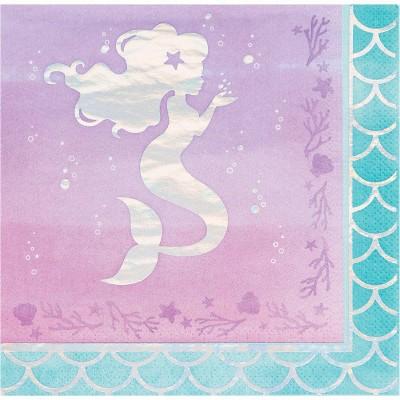 48ct Mermaid Print Party Napkins
