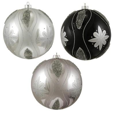 "Sterling 3ct Floral Shatterproof Christmas Ball Ornament Set 6"" - Black/Silver"