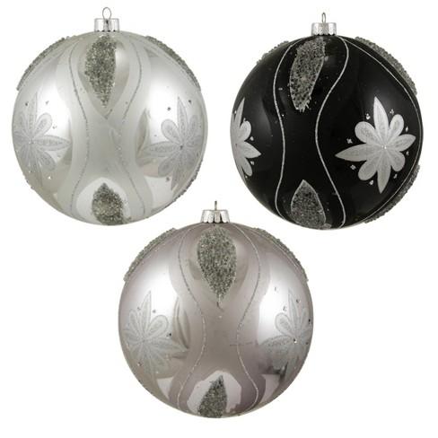 Sterling 3ct Floral Shatterproof Christmas Ball Ornament Set 6 Black Silver Target