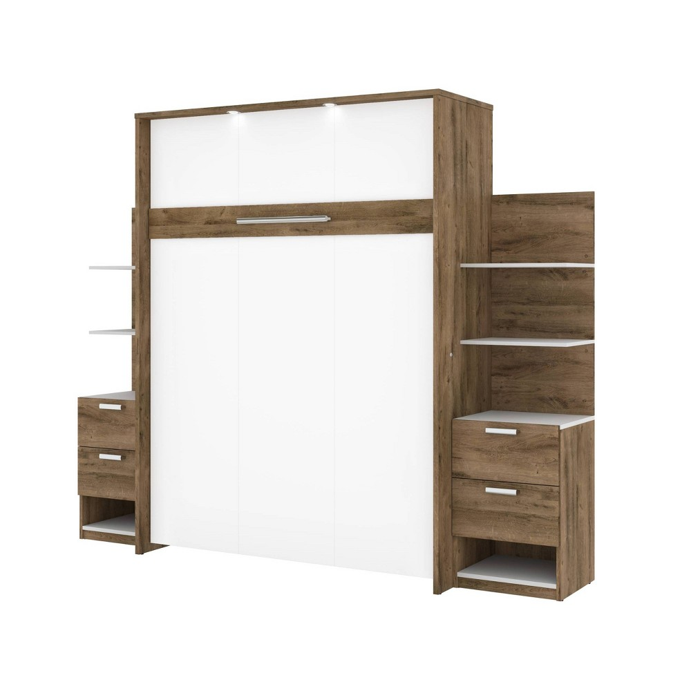 "Image of ""104"""" Elite Queen Wall Bed Kit Rustic Brown/White - Bestar"""