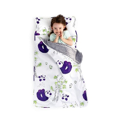 JumpOff Jo Toddler Nap Mat - Children's Sleeping Bag with Removable Pillow for Preschool, Daycare, and Sleepovers - 43 x 21 Inches - Playful Pandas