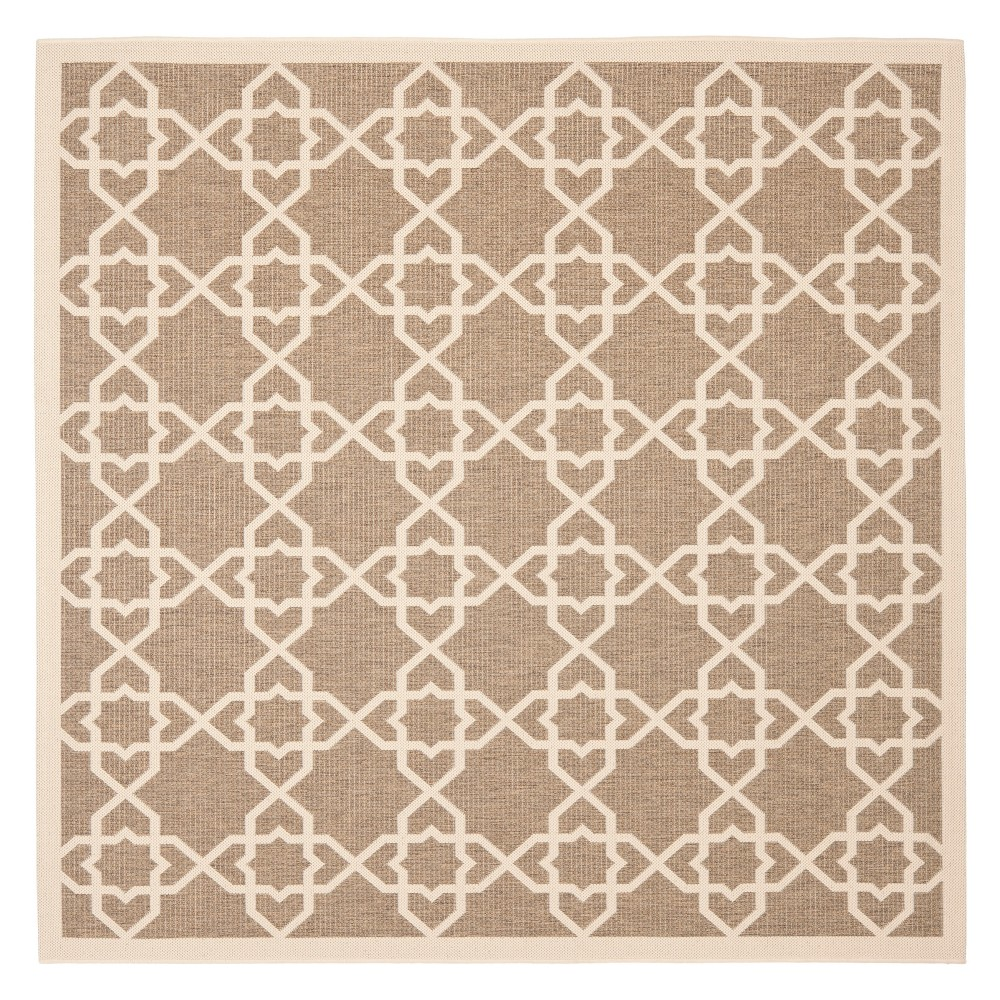 Bourges Round 5'3 Outer Patio Rug - Brown / Beige - Safavieh