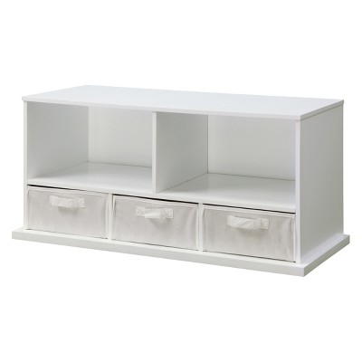 Badger Basket Stackable Shelf Storage Cubby with 3 Baskets White