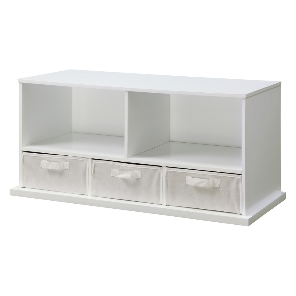 Image of Badger Basket Stackable Shelf Storage Cubby with Three Baskets White