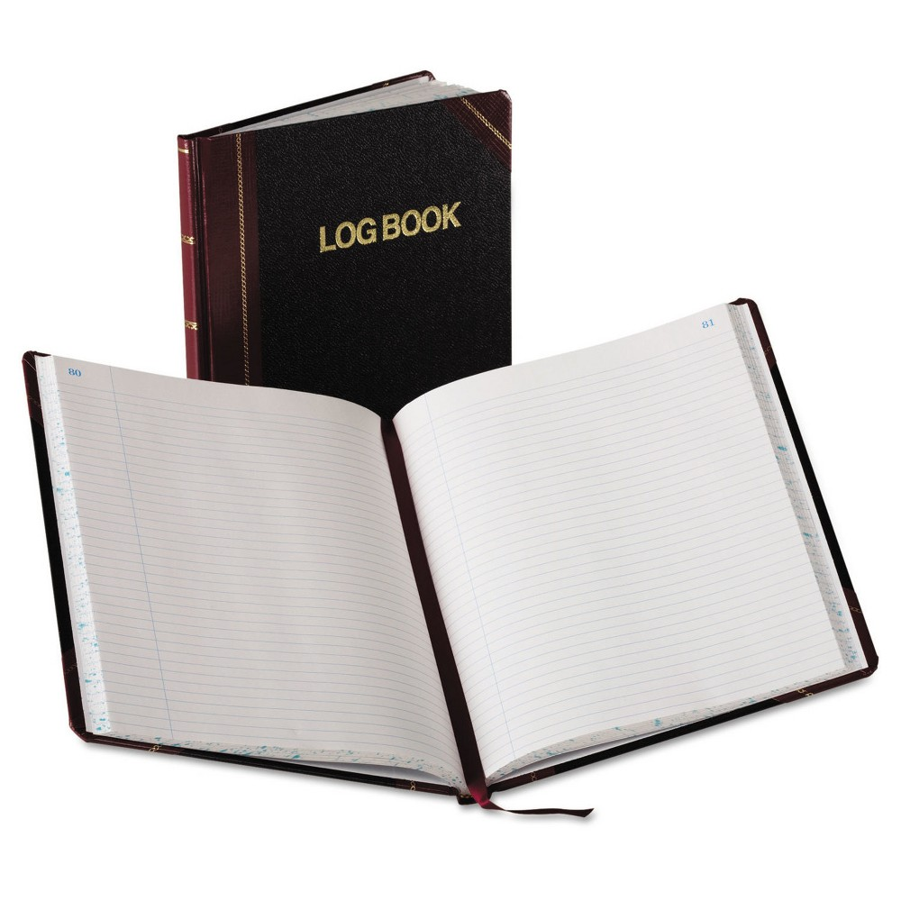 "Image of ""Boorum & Pease Composition Log Book, Record Rule, 150 Pages, 10 3/8 x 8 1/8"""" - Black/Red Cover, Red Black"""