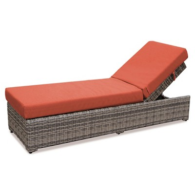 Cherry Hill 1pc Resin Wicker Chaise Lounge with Sunbrella Fabric Canvas Brick AE Outdoor