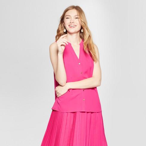1700b12d12852 Women s Sleeveless Button Front Blouse - A New Day™ Magenta   Target