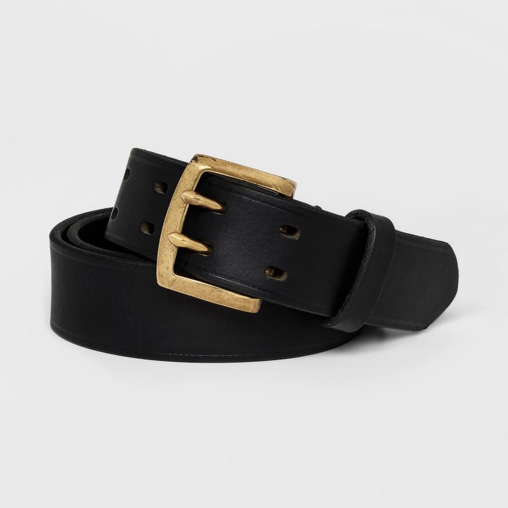 Men's 33mm Creased Prong Buckle Belt - Goodfellow & Co Black M