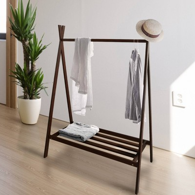 Solid Wood Garment Rack with Shelf Truffle Brown - Flora Home