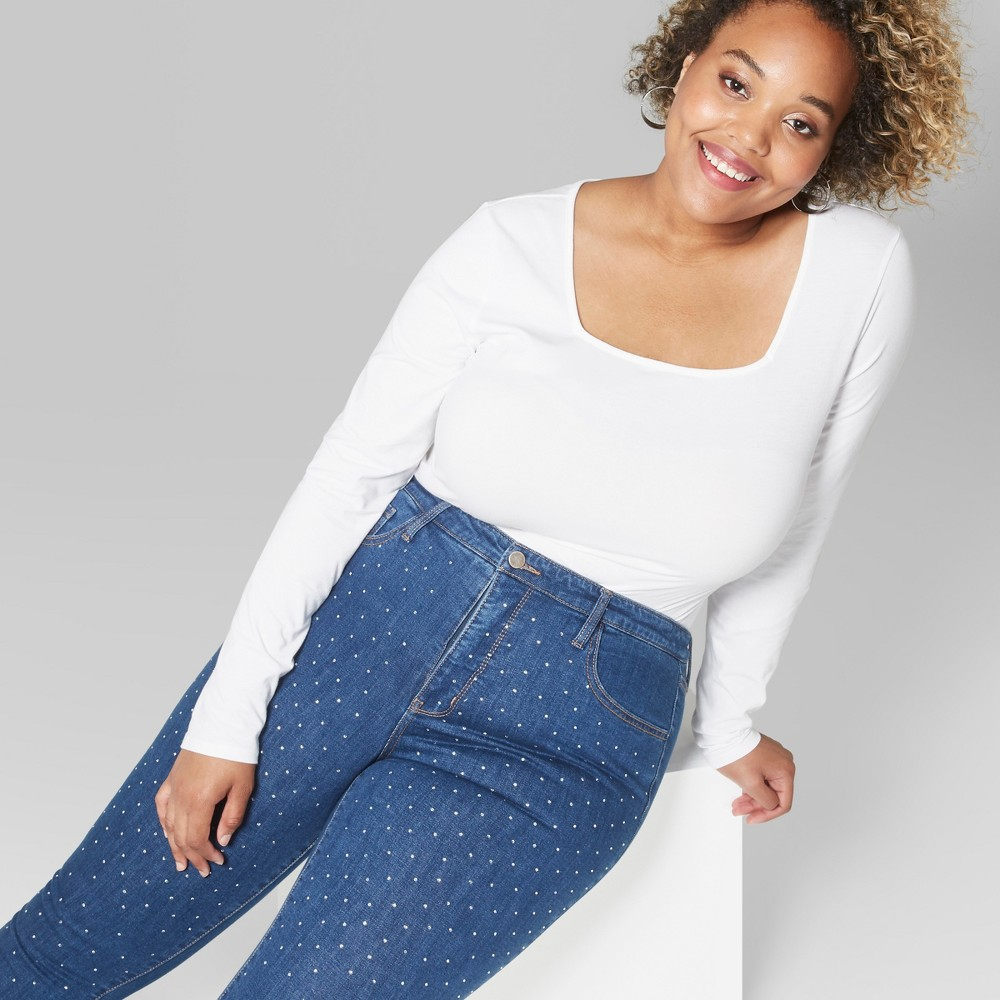 Women's Plus Size Cropped Long Sleeve Square Neck T-Shirt - Wild Fable White 3X