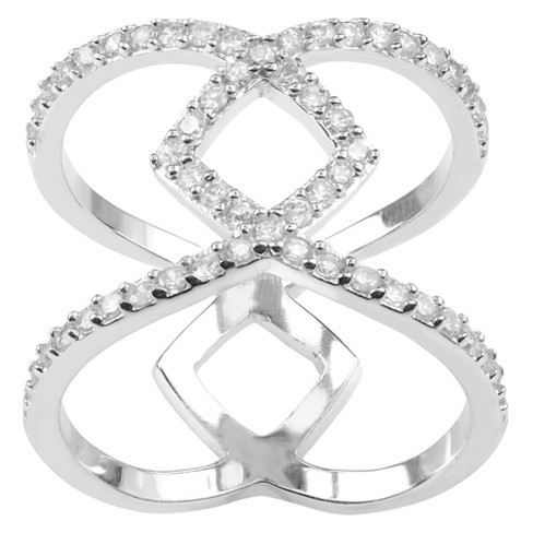 1 1/6 CT. T.W. Round-cut Cubic Zirconia Split Engagement Pave Set Ring in Sterling Silver - Silver - image 1 of 2