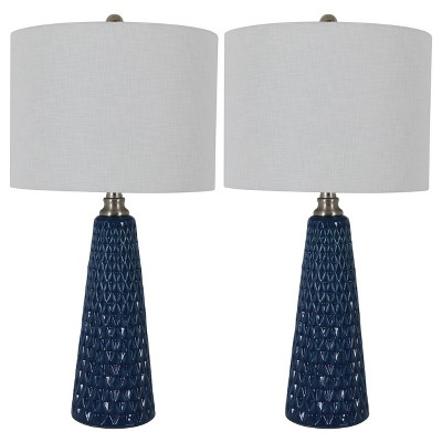 "26.5"" Set of Two Jameson Textured Ceramic Table Lamp Cobalt Blue - Decor Therapy"