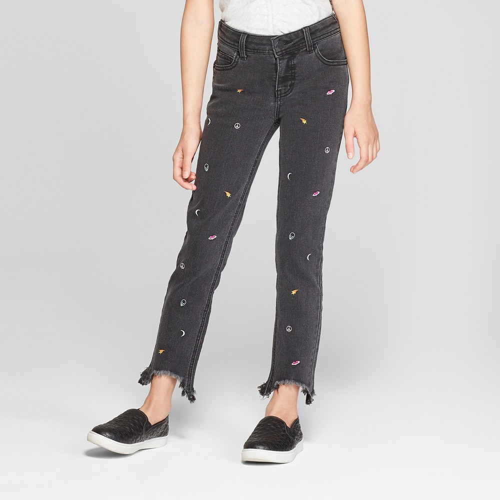 Girls' Jeans with Space Icons - art class Black 8 Plus, Girl's