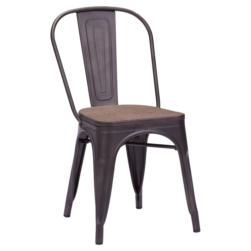 Industrial Style Metal and Rustic Wood Dining Chairs (Set of 2) - ZM Home