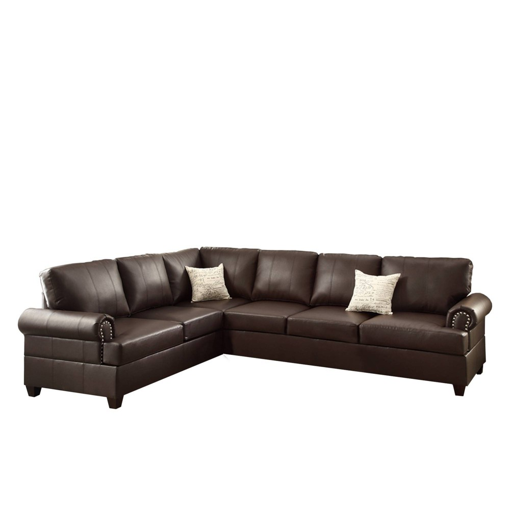 Image of 2pc Bonded Leather Reversible Sectional Brown - Benzara