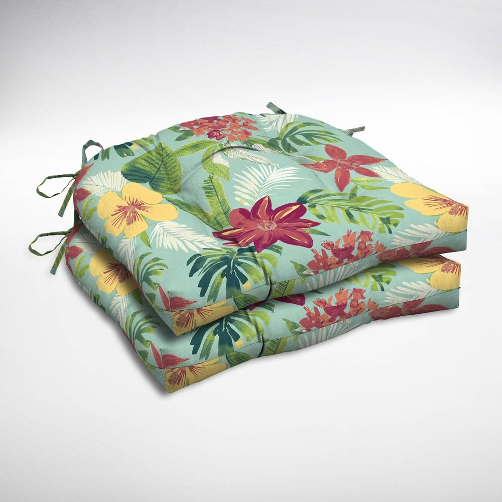 2pk Elea Tropical Wicker Chair Cushions Aqua (Blue) - Arden Selections