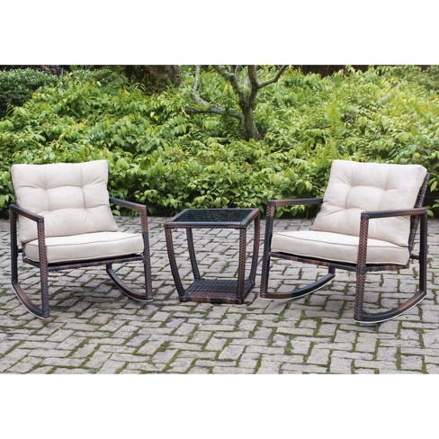 3pc Aluminum Frame Bistro Set Black/Brown - Sunjoy - image 1 of 4
