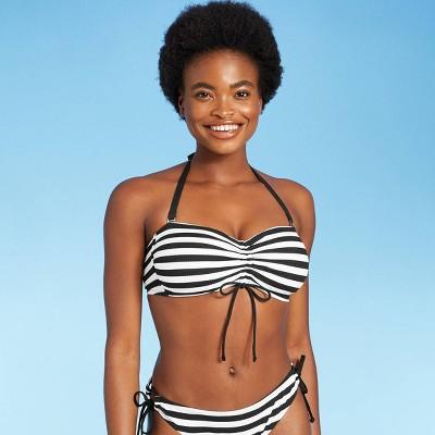 Women's Rio Ribbed Center Cinch Bandeau Bikini Top - Kona Sol™ Black & White D/DD Cup