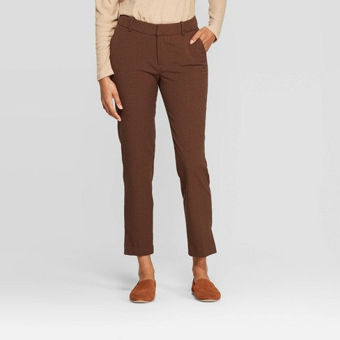 Women's Plaid Mid-Rise Slim Ankle Pants - A New Day™ Brown - image 1 of 3