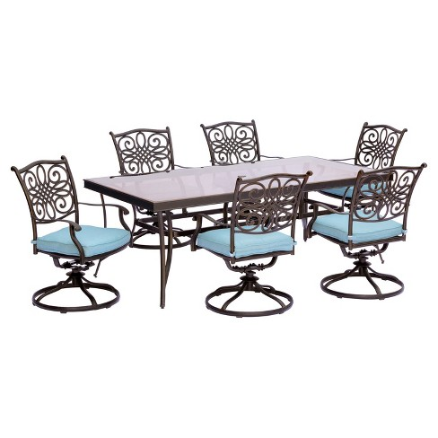 Traditions 7pc Rectangle Metal Patio Dining Set - Blue - Hanover - image 1 of 8