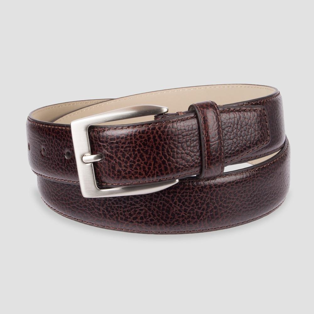 Men's 35mm Feather Edge Stitch Belt - Goodfellow & Co Brown 3X