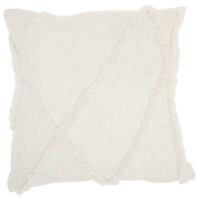 """18""""x18"""" Distressed Diamond Square Throw Pillow White - Mina Victory"""