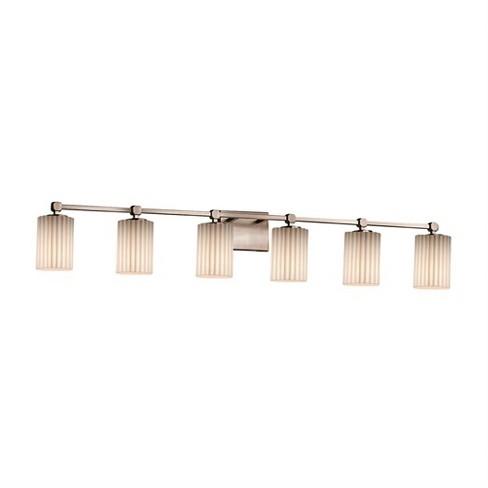"""Justice Design Group POR-8426-10-PLET-LED6-4200 Tetra 6 Light 48-1/2"""" Wide Integrated 3000K LED Bathroom Vanity Light - image 1 of 1"""