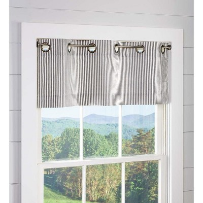 """Thermalogic Insulated Ticking Stripe Grommet Top Valance, 40""""W x 15""""L"""