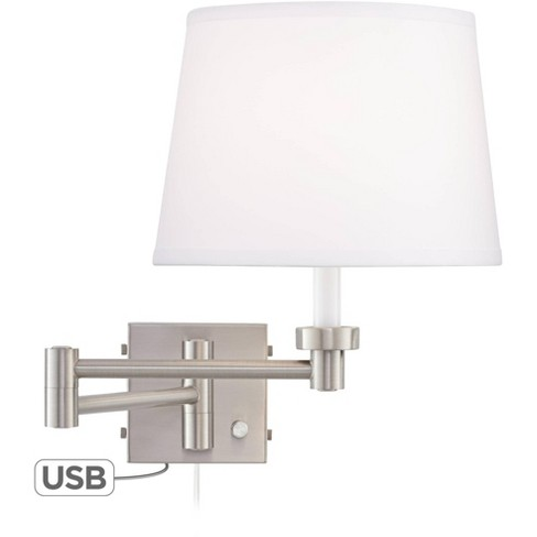 360 Lighting Modern Swing Arm Wall Lamp With Usb Charging Port Brushed Nickel Plug In Light Fixture White Drum Shade For Bedroom Target