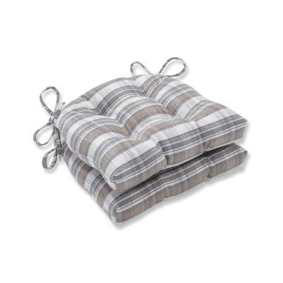 Set of 2 Bebe Cobblestone Indoor Reversible Chair Pad - Pillow Perfect