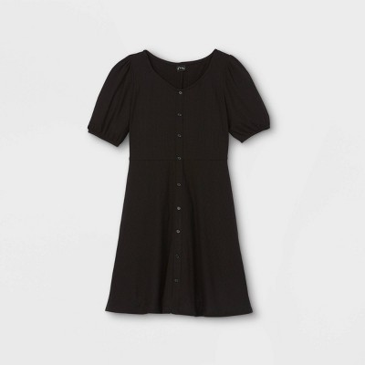 Girls' Button-Front Short Sleeve Knit Dress - art class™