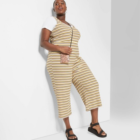 Women's Plus Size Striped Strappy Square Neck Knit Jumpsuit - Wild Fable™ - image 1 of 3