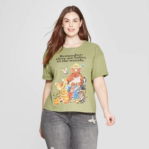 b8f29b202106 Women's Smokey Bear Plus Size Short Sleeve Crewneck Babes in the Woods T- Shirt (Juniors') - Light Green
