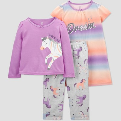 Toddler Girls' 3pc Zebra Pajama Set - Just One You® made by carter's Gray/Purple/Orange