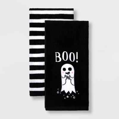 2pk Ghost/Stripe Halloween Terry Kitchen Towel - Hyde & EEK! Boutique™