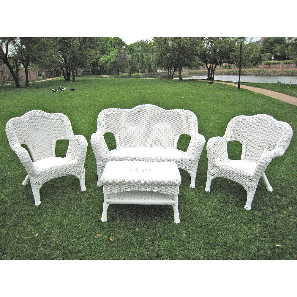 Image of International Caravan Chelsea 4-Piece Wicker Conversation Furniture Set - White