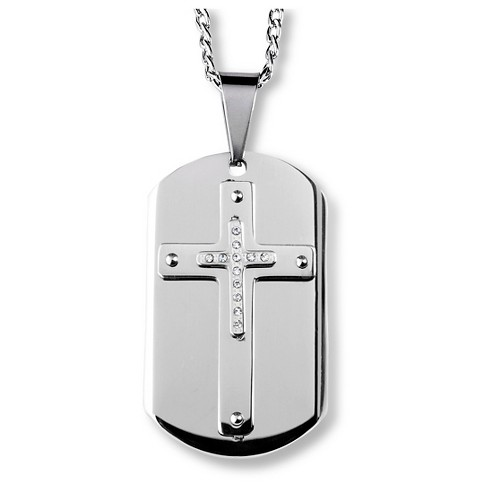 Men's West Coast Jewelry Stainless Steel and Crystal Triple Layer Cross Dog Tag Pendant - image 1 of 3