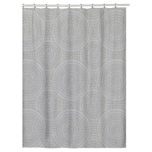 Mosiac Circle 100 Cotton Shower Curtain Capri Gray