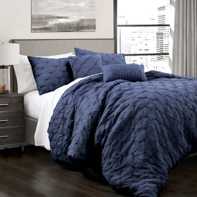 Lush Navy Ravello Pintuck Comforter Set - Lush Décor