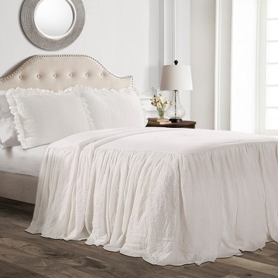 3pc King Ruffle Skirt Bedspread White - Lush Decor