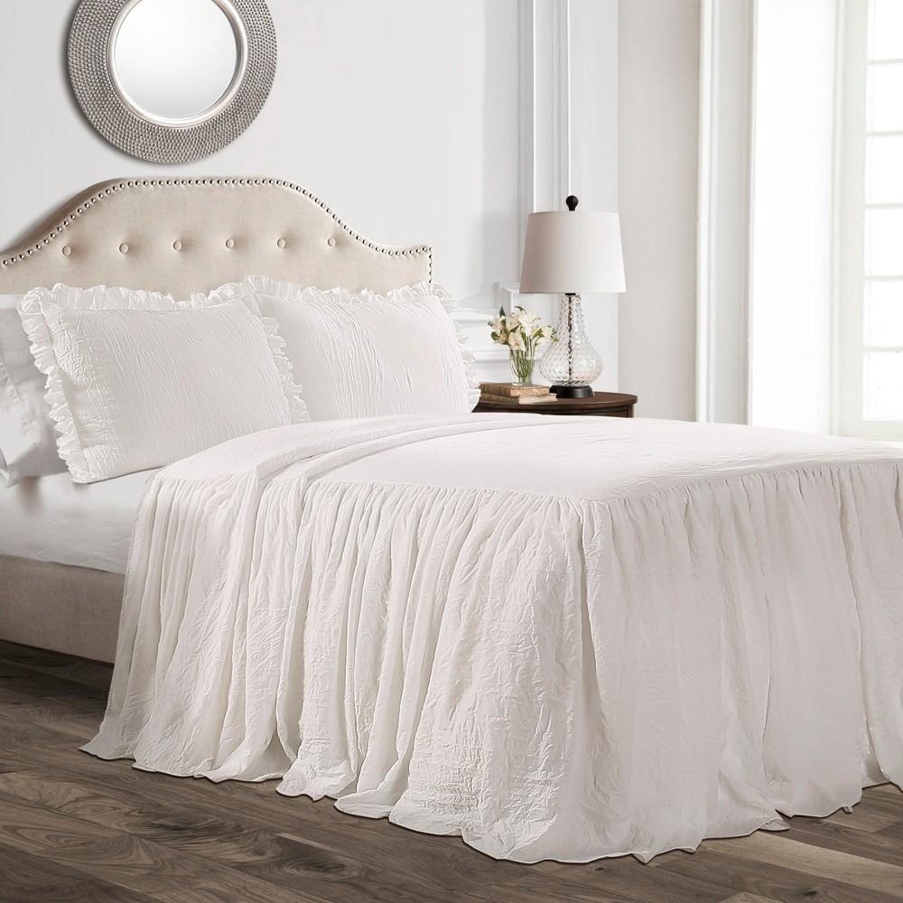 3pc King Ruffle Skirt Bedspread White - Lush Decor