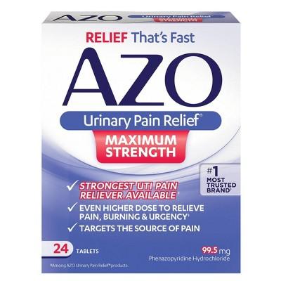 AZO Maximum Strength Urinary Pain Relief, UTI Pain Reliever - 24ct