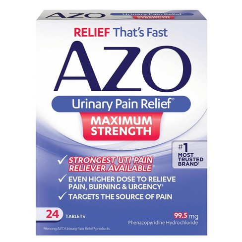 AZO Maximum Strength Urinary Pain Relief, UTI Pain Reliever - 24ct - image 1 of 4