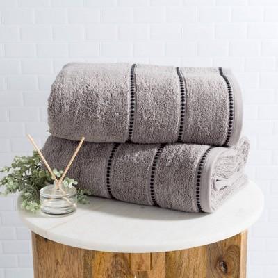 2pc Luxury Cotton Bath Towels Sets Medium Silver - Yorkshire Home