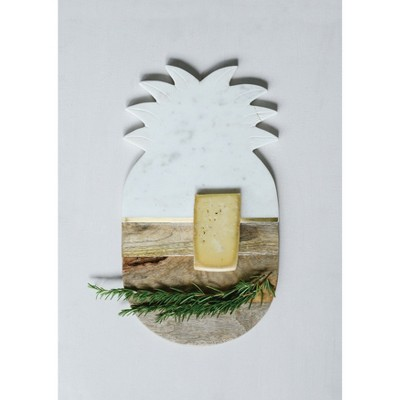 Wooded Cutting Board Pineapple - Marble / Gold Stripe