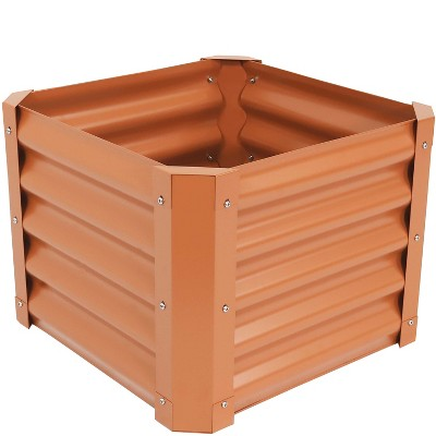 "22"" Square Raised Garden Bed - Brown Powder-Coated Steel - Sunnydaze Decor"