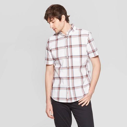 Men's Checkered Standard Fit Short Sleeve Poplin Button-Down Shirt - Goodfellow & Co™ - image 1 of 3