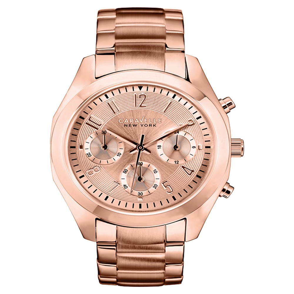 Caravelle New York by Bulova Women's Chronograph Rose Gold-Tone Stainless Steel Bracelet Watch - 44L115, Size: Ladies, Gold